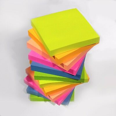 """Quality NEON Remove It Sticky Post Notes 76mm x 76mm 3"""" x 3"""" (Packs of 100)"""