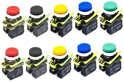 (2) 22mm Push Button Extended Cap Momentary 1NO1NC Contact Included Choose Color