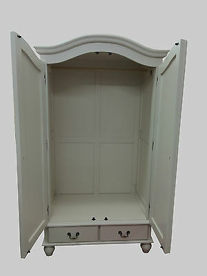French Style Shabby Chic Painted Double Wardrobe With Mirror Doors