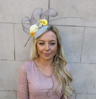 Grey Yellow Lemon Flower Feather Pillbox Hat Hair Fascinator Races Wedding 5546