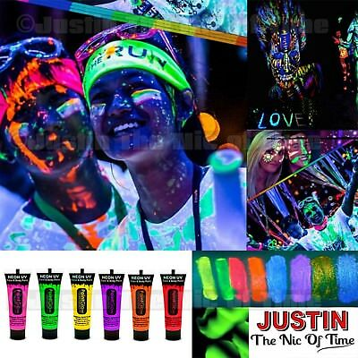 PAINT GLOW in The Dark Neon UV Face & Body Clubbing Rave Festival Make Up Party