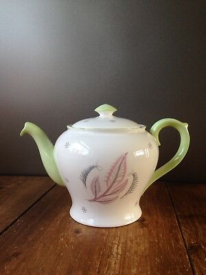 Gorgeous Rare Vintage Shelley Bone China Teapot Rhythm Pattern 13779 Pink Leaf