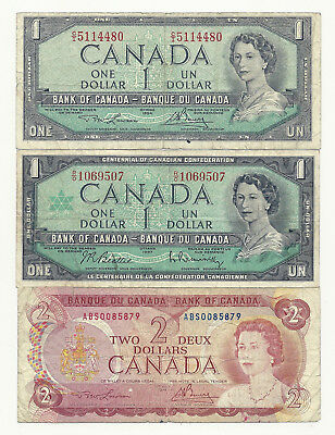 Lot of 3 x CANADA BANK NOTES (1 x 1954 and 1967 1$ and 1 x 1974 2$)