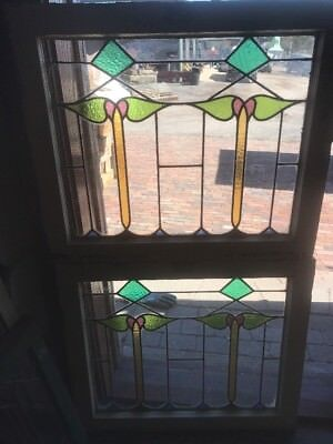SG 2189 match Pair antique stained and leaded glass window 24.75 x 28.5