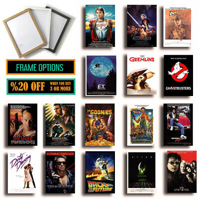 CLASSIC 80s MOVIE POSTERS Film Wall Art Decor Prints A4/A3 FRAMES Christmas Gift