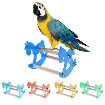 Funny Pet Bird Toy Parrot Station Stand Rack Acrylic Macaws Chew Swing Play Toy