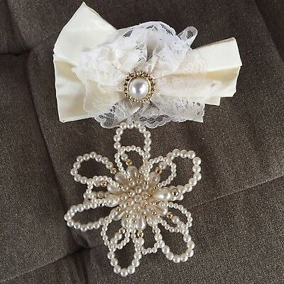 Vintage Hair Accessories Clips Barrettes Bows Wedding Party Lace Beads