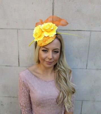 Yellow Orange Rose Flower Feather Pillbox Hat Hair Fascinator Floral Races 5566