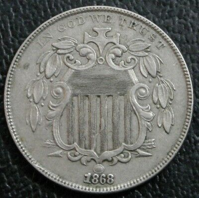 1868 Shield Nickel AU Almost Uncirculated 5C Coin