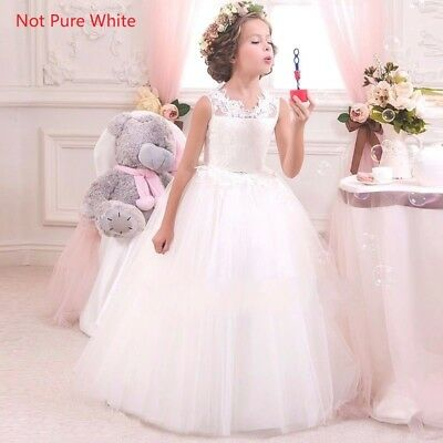 Kids Flower Girl Bow Princess Dress for Girls Party Wedding Bridesmaid Gown O92