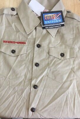 Boy Scouts Of America Shirt Uniform Youth Medium New Brown Short Sleeve Official