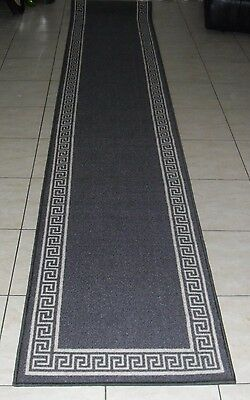 New Extra Long Modern Grey Rubber Back Floor Hall Runner Rug 67X400Cm