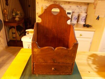 Early To Middle 1900S Hand Made Wall Box With Single Drawer Hole On Top For Hang