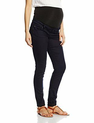 (TG. 46) Blu (Plain Dark Blue) Queen Mum Denim Slimfit, Jeans Maternità Donna, B