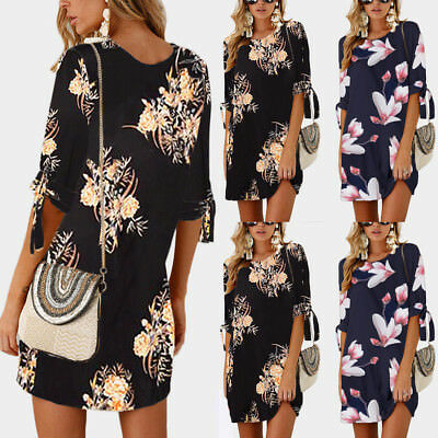 Women Summer Boho Short Mini Maxi Evening Party Beach Dress Floral Sundress S-XL