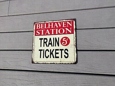 Your name Custom Train Station Tickets 5 cent Man cave 12x12 Metal Sign SS13