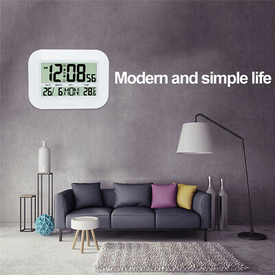 Plus LCD Screen Calendar Living Room Thermometer Digital Electronic Wall Clocks