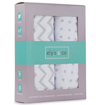 Bassinet Sheet Set 2 Pack 100% Jersey Cotton for Baby Girl by Ely's & Co. Grey
