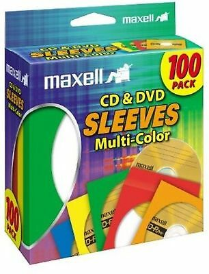 Maxell 190132 Cd & Dvd Sleeves Multi-Color100Pk (Paper) 1 Pack