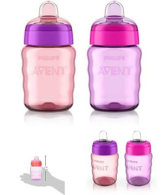 Philips Avent My Easy Sippy Cup Baby Girl Stage 2 Pink Purple Silicone 9 Ounce