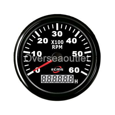 Marine Car RPM Tachometer Gauge LCD Hourmeter 9-32V 0-6000 RPM 85mm Black
