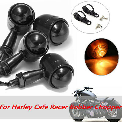 4x Motorcycle Mini Turn Signal Indicators Light& Bracket For Harley Chopper Cafe