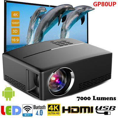 UHD LED Projector 3D WiFi Android 6.0 Bluetooth Home Theater Cinema VGA USB SG