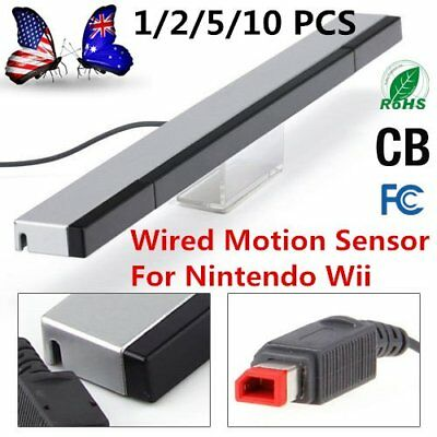 Wired Motion Sensor Remote Infrared Ray IR Inductor Bar For Nintendo Wii GHK