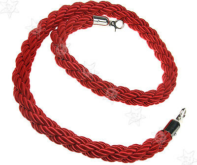 Red Twisted Barrier 1.5M Rope Queue Divider Crowd Control Stanchion