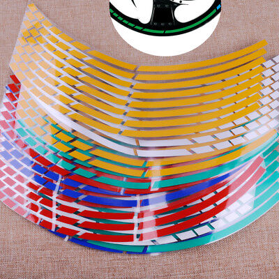 "16 Strips Reflective Motorcycle Car 17""-19"" Wheel Rim Stripe Tape Decal Stickers"