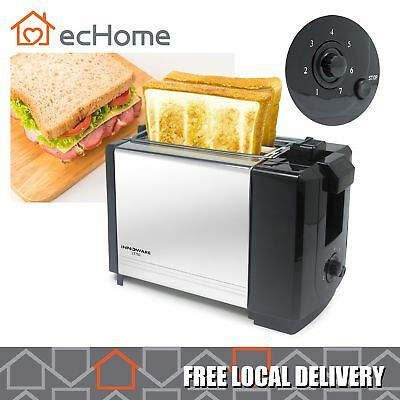 INNOWARE Compact Stainless Steel Toaster 2-Slice Removable Crumb Tray 7 Settings
