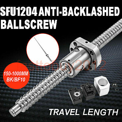 100-1000mm Rolled Ballscrew SFU1204 w/ Ballnut BK/BF10 End Support & Nut Bracket