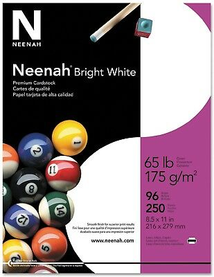 250 Sheets White Wausau Paper - Bright White Card Stock, 65lb, 96 Bright New