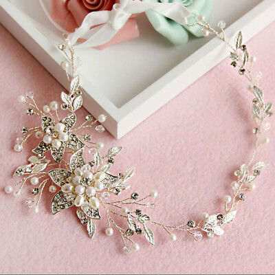 Pearl Flower Leaf Bridal Wedding Hairband Crown Pearl Crystal Headband Decor