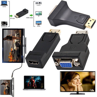 Display Port DP to DVI HDMI VGA Adapter Cable 1080P Male to Female Converter Lot