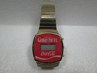 VINTAGE  Coke is it  Coca~Cola DIGITAL GOLD MANS WATCH STAINLESS STEEL BACK
