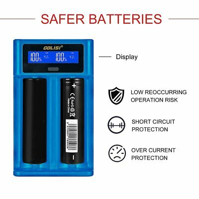 Golisi i2 2.0A Smart LCD Charger 2 Slots 18650 Rechargeable Battery Charger FH