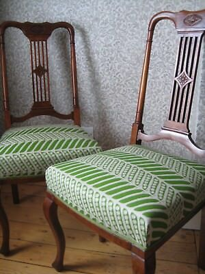 Antique Edwardian Mahogany Dining Chairs, Upholstered in Thornback & Peel Fabric