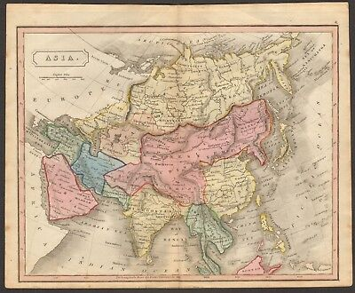 1815 ca ANTIQUE MAP - HAND COLOURED - ASIA, CHINA, CHINESE EMPIRE, BIRMAN EMPIRE