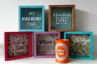 Novelty Glass Money Box Savings Wooden Panel Frame Bank Travel Holiday Shoe Fund