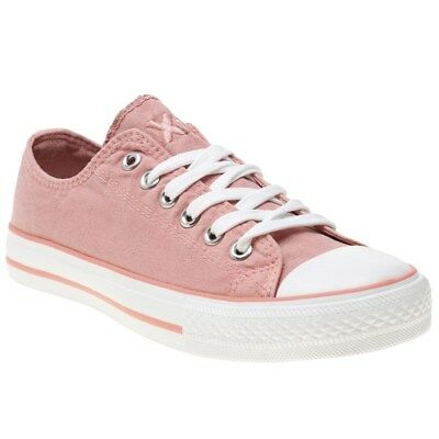 New Womens XTI Pink 33825 Canvas Trainers Lace Up