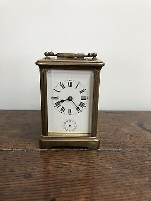 Antique Carriage Clock With Travel Case 8 Day Alarm