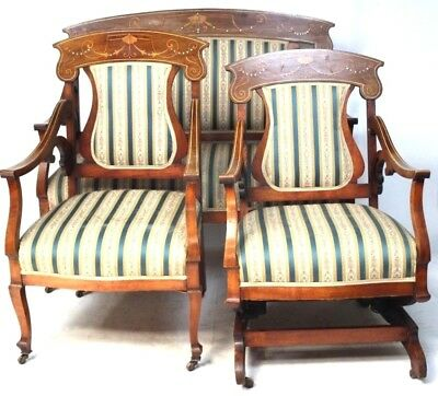 Antique Edwardian Marquetry Inlaid 3 Piece Suite - FREE Delivery [PL1978]