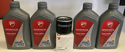 Shell Ducati 15W50 T4 Motorcycle Engine Oil 1L Four Bottles, Filter, +Crush wash