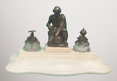 19th C Art Nouveau Galileo Galilei Bronze Statue Inkwell on Marble Base [PL3679]