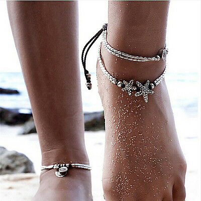 Summer Boho Starfish Anklet Vintage Ankle Bracelet Women Buddha Foot Jewelry ZY