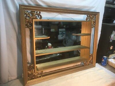 Vintage Gold Wood Wall Shadow Box 2-Tier Shelf Display Curio w/Mirror