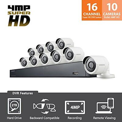 Samsung SDH-C85100BF Wisenet 16 Ch 1080p HD 2TB Security System with 10 Cameras