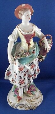 Antique 18thC Derby Porcelain Early Lady Figurine Figure English England Figur