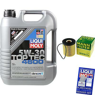 MANN-FILTER KIT CAMBIO ACEITE 5l Liqui Moly TOP TEC 4600 5w-30 mlm-9722216